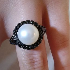 Jewelry - Sterling Silver, Pearl, and Black Marcasite Ring